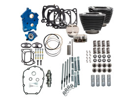 128ci Big Bore Kit with Chain Drive 550 Cam, Highlighted Fins & Chrome Pushrod Tubes - Black Granite. Fits CVO Milwaukee-Eight 2017up with 117ci Oil Cooled Engine.