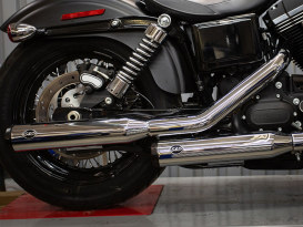 3-1/4in. Grand National Slip-On Mufflers - Chrome with Black End Caps. Fits Dyna 1995-2017.