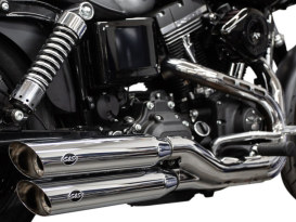 3-1/4in. Grand National Slash Cut Slip-On Mufflers - Chrome. Fits Dyna Fat Bob 2008-2017, Wide Glide 2010-2017 & all Low Riders 2015-2017.