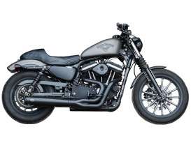 2-into-1 SuperStreet Exhaust - Black with Black End Cap. Fits Sportster 2014up.