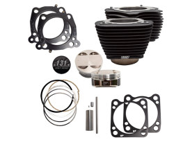 131ci Stroker Big Bore Kit with Non-Highlighted Fins - Black. Fits Milwaukee-Eight 2017up with S&S 4-5/8in. Stroker Flywheel.