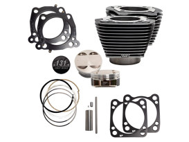 131ci Stroker Big Bore Kit with Highlighted Fins - Black Granite. Fits Milwaukee-Eight 2017up with S&S 4-5/8in. Stroker Flywheel.