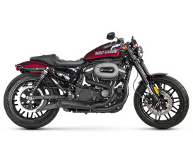 Black Comp-S 2-into-1 Exhaust with Carbon Fiber End Cap. Fits Sportster 2014up