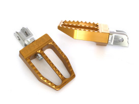 Militant Footpegs - Gold. Fits Softail 2018up Front.