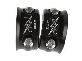 Clutch & Brake Perch Clamp - Twice Cut Black. Fits Most HD 1982up.