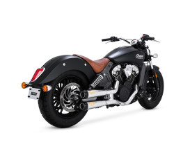 Tracker Mufflers with Chrome Finish & Black End Caps. Fits Indian Scout 2015up.